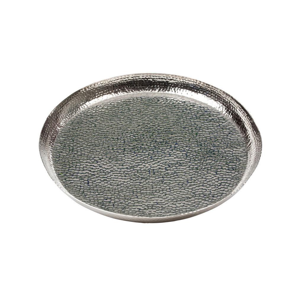 Tablett Groß tablett aluminium vernickelt rund groß hammerschlag